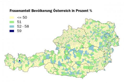 Frauenanteil auf Gemeindeebene in Österreich