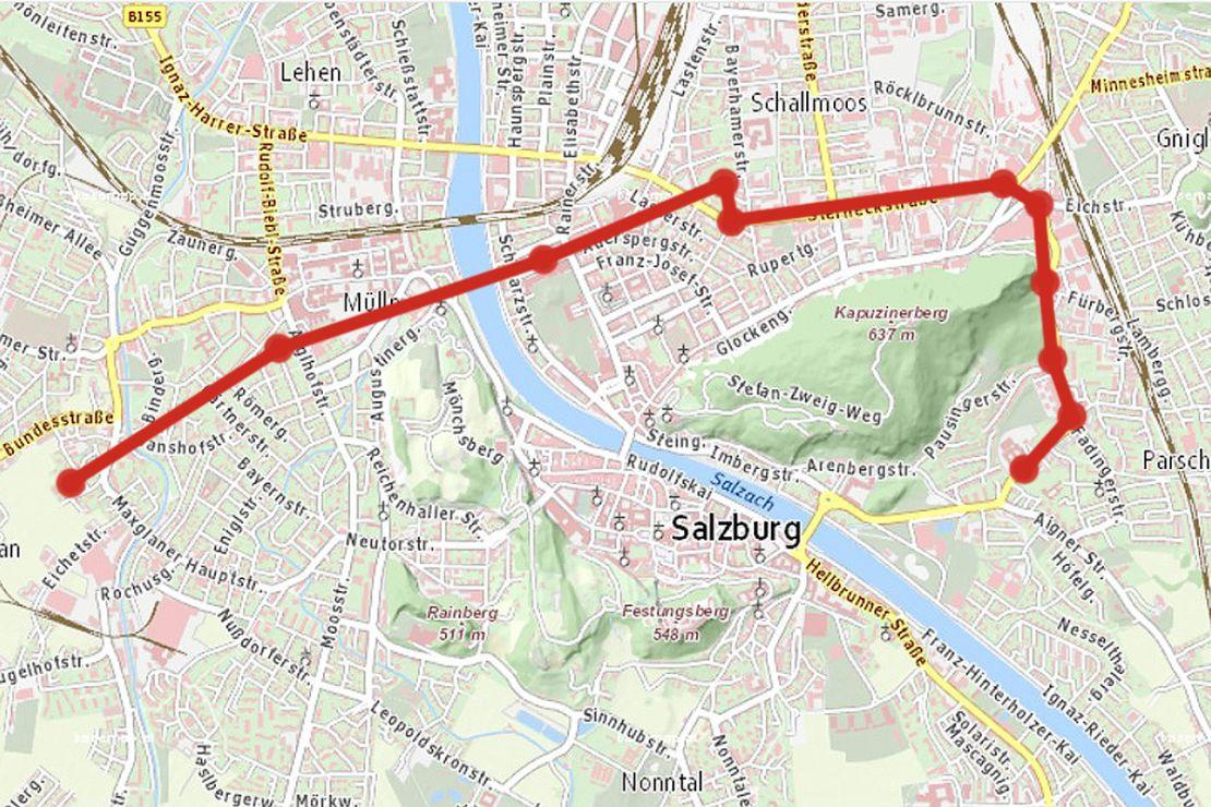 Linien in Landkarte einzeichnen zur Datenerfassung mit der Software WIGeoWeb