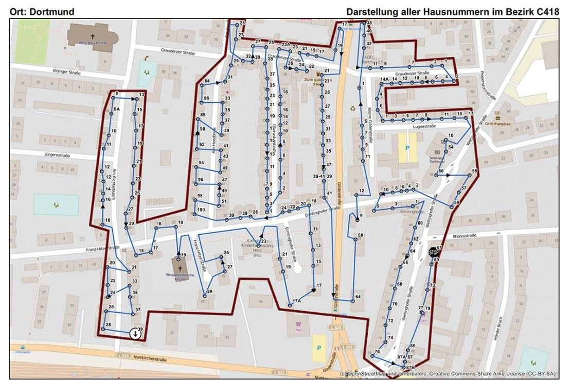 Die Umstellung von Stück- auf Mindestlohn für Bestandsgebiete erfolgt mit einer GIS-Software in vier Schritten