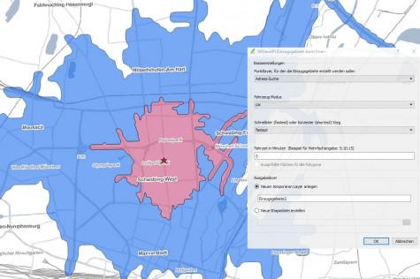 Geokodierung und Berechnung von Einzugsgebieten mit WIGeo QGIS Standard