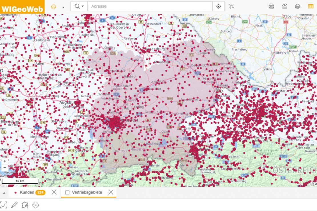 Reporting Tool: screenshot of sales area selection