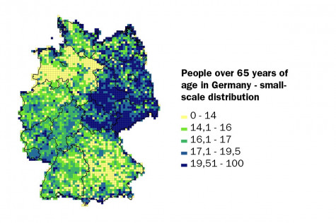 People over 65 years of age in Germany - small-scale distribution