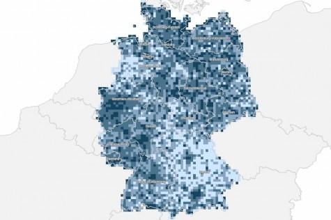 Karte: Je dunkler das Blau, umso höher der Anteil der Bevölkerung mit mittlerer Online-Affinität.