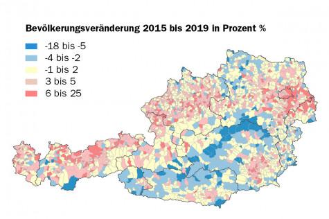 Bevölkerungsveränderung Österreich 2015-2019