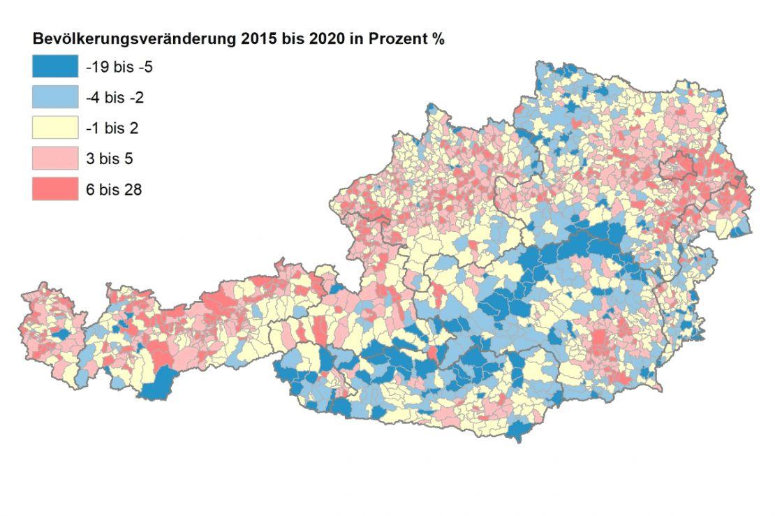 Bevölkerungsveränderung Österreich 2015-2020