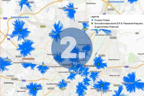 Schritt 2 einer Filialnetz-Optimierung mit GIS: Simulation unterschiedlicher Standort-Szenarien