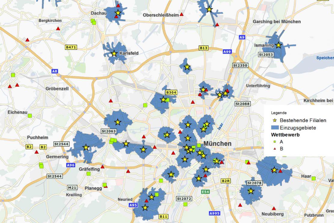 Geomarketing visualisiert für Filialnetz-Optimierungen wichtige Informationen auf der Landkarte.