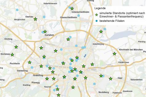 Ergebnis einer Geomarketing Greenfield-Analyse nach Einwohner & Passantenfrequenz