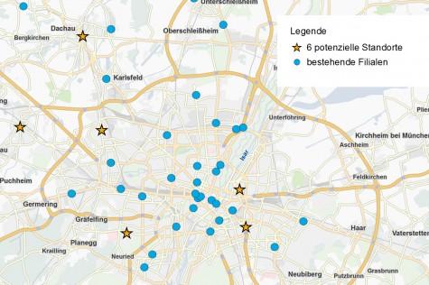 Szenario 3 einer Filialnetz-Optimierung: Erweiterung des Netzes um 6 Standorte