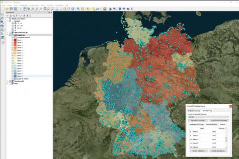 Die Gebietsplanungs-Software WIGeoATP teilt Ihre Märkte in die gewünschte Anzahl gleichwertiger Gebiete.