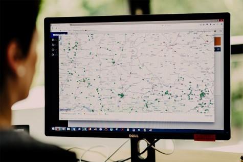Nach der Geokodierung - Adressen werden als Punkte auf der Landkarten dargestellt.