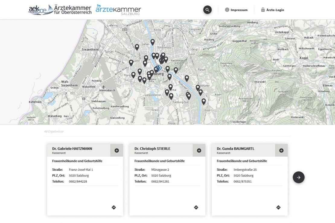 Ein modernes WebGIS als Suchdienst für den nächst gelegenen Facharzt
