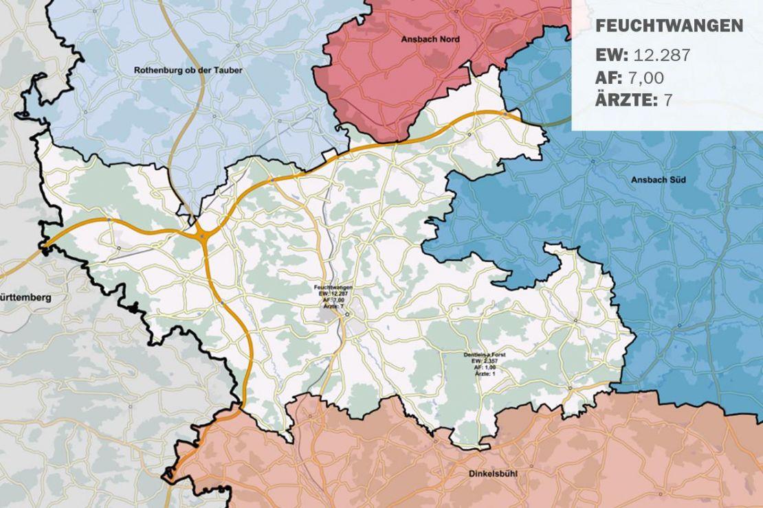 GIS-Karte: Schnellübersicht der kassenärztlichen Versorgung. Drohende Unterversorgung im Bereich Ansbach Nord