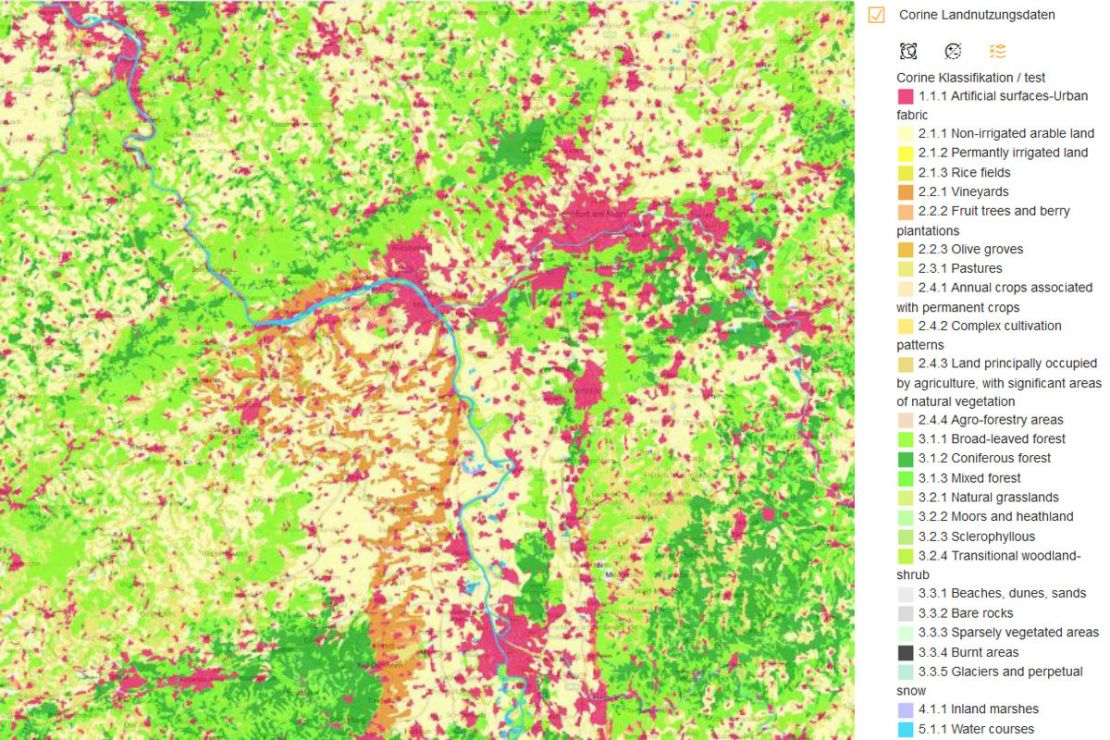 Screenshot WebGIS CORINE Land Cover Data