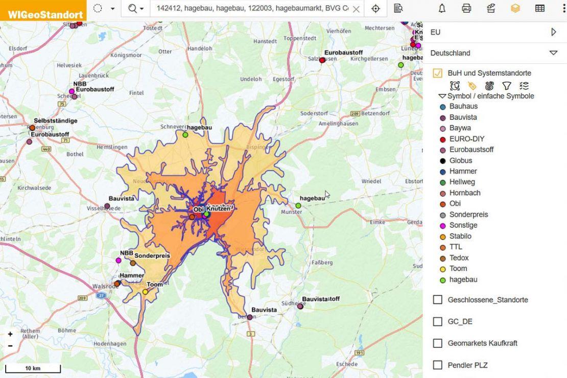 Screenshot aus Standortanalyse-Tool zur Einzugsgebietsberechnung für Händlernetzplanung