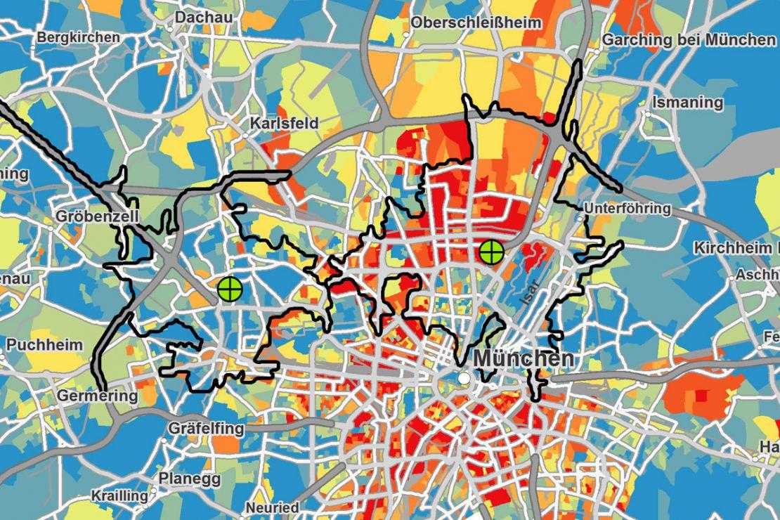 Zielgruppenanalyse mit Geomarketing nach den Attribute Haus mit Garten und hohe Kaufkraft
