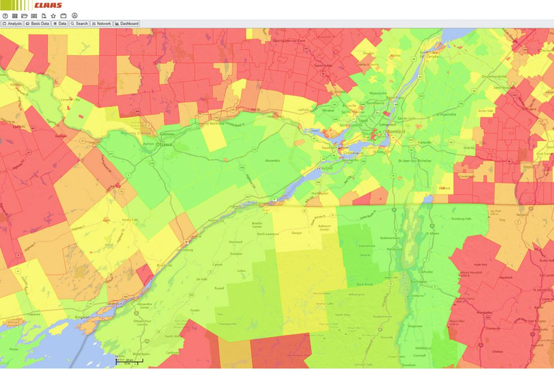Screenshot market analysis WebGIS best practice CLAAS: usable areas around Montreal