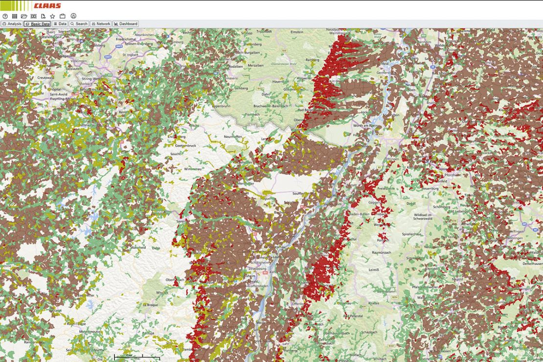 Screenshot market analysis & territory management WebGIS, best practice CLAAS: agricultural areas at the border crossing
