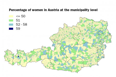 Percentage of women in Austria at the municipality level