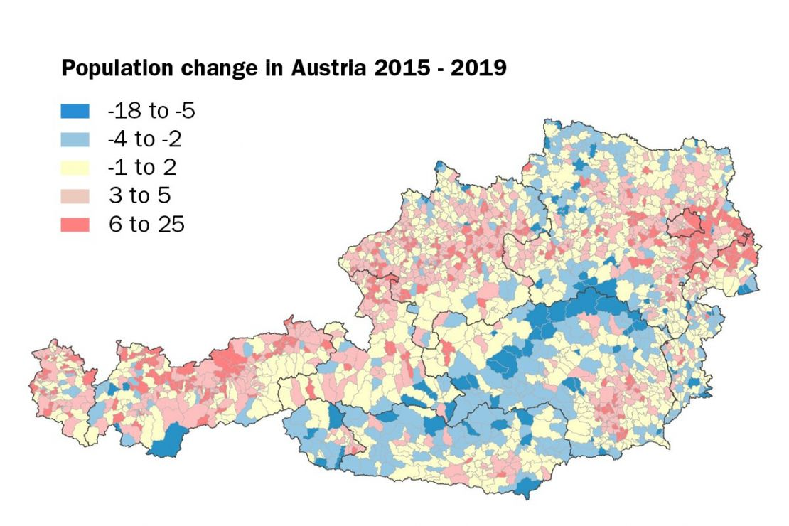 Population change in Austria 2015-2020