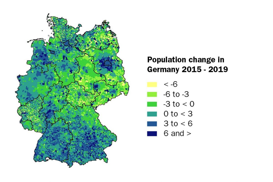 Population change in Germany 2015-2019