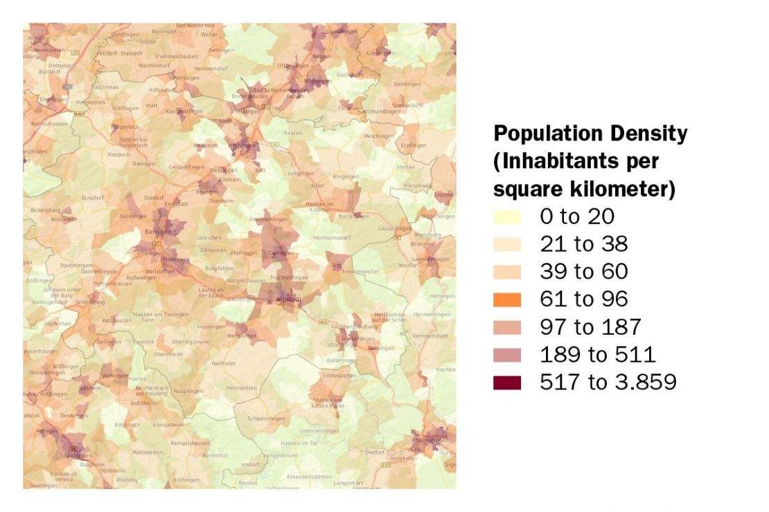 Recognize spatial structures - see the population density in the district Zollernalbkreis