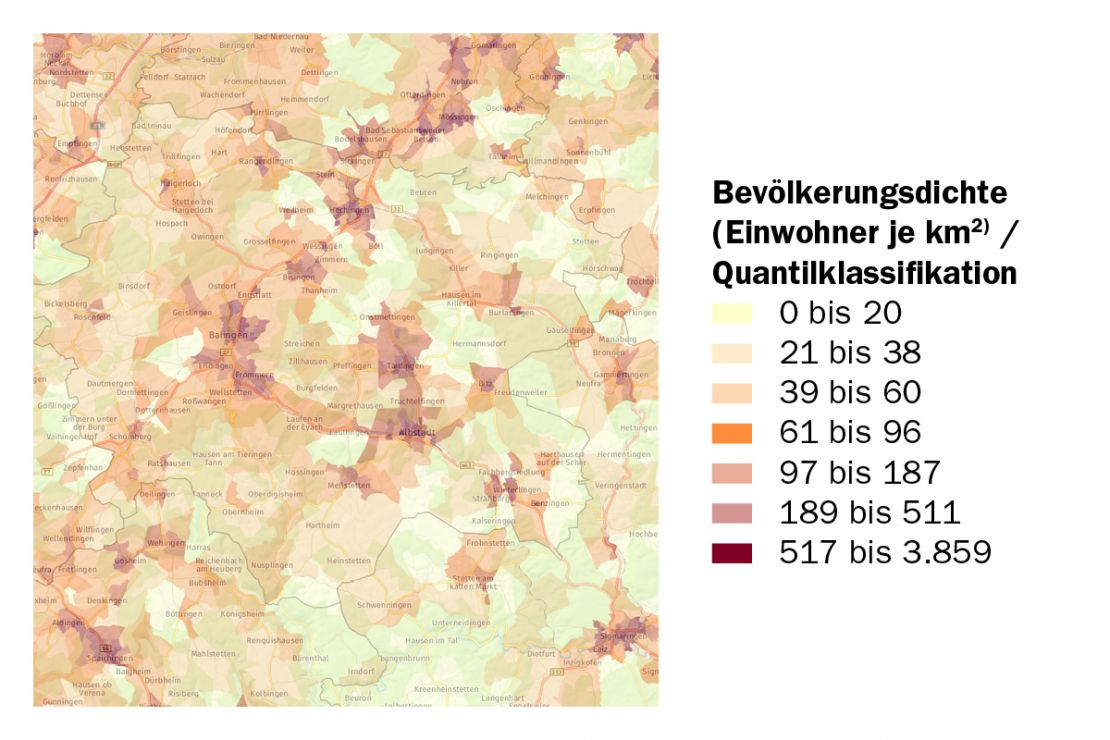 Räumliche Strukturen erkennen, sehen Sie die Bevölkerungsdichte im Landkreis Zollernalbkreis
