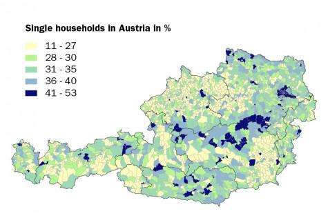 Single households in Austria in %