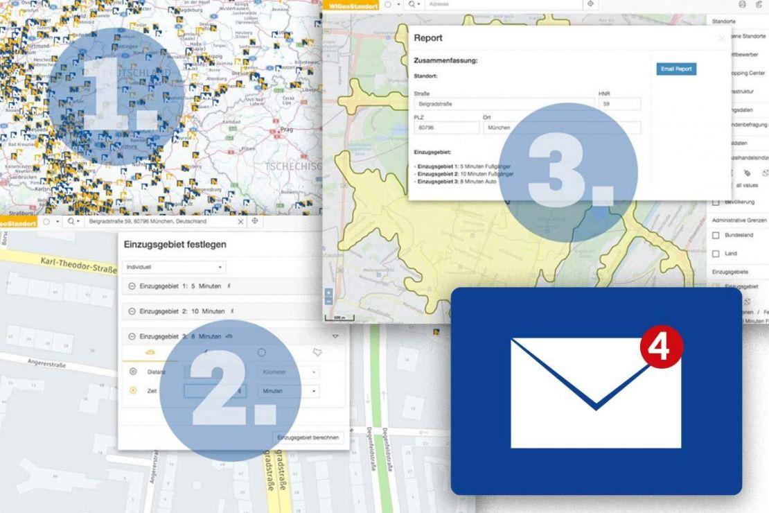 Collage aus Screenshots aus Standortanalyse-Tool für den Einzelhandel WIGeoStandort