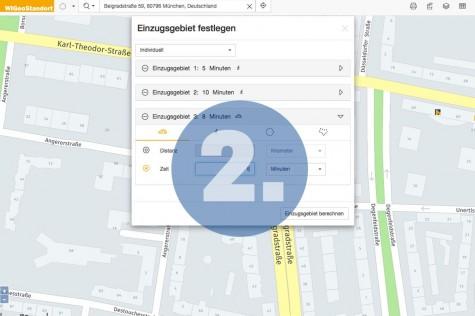 Schritt 2 bei der Standortanalyse mit WIGeoStandort: Einzugsgebiet definieren