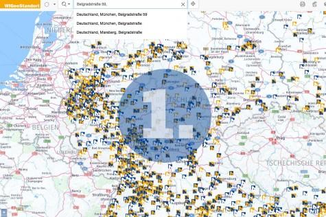 Schritt 1 bei der Standortanalyse mit WIGeoStandort: Standortadresse eingeben
