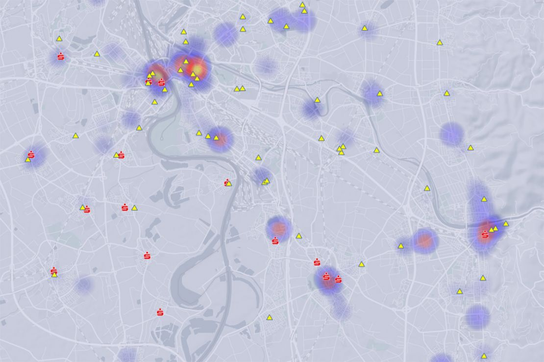 Display global business locations on the interactive map. For example, together with the customer density using a heatmap