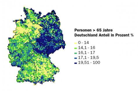 Personen über 65 Jahre in Deutschland - kleinräumige Verteilung