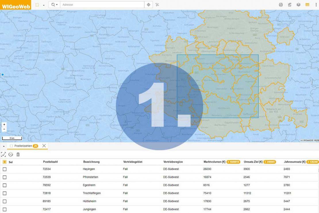 WebGIS Software - Schritt 1 zum Bericht - Analysegebiet festlegen