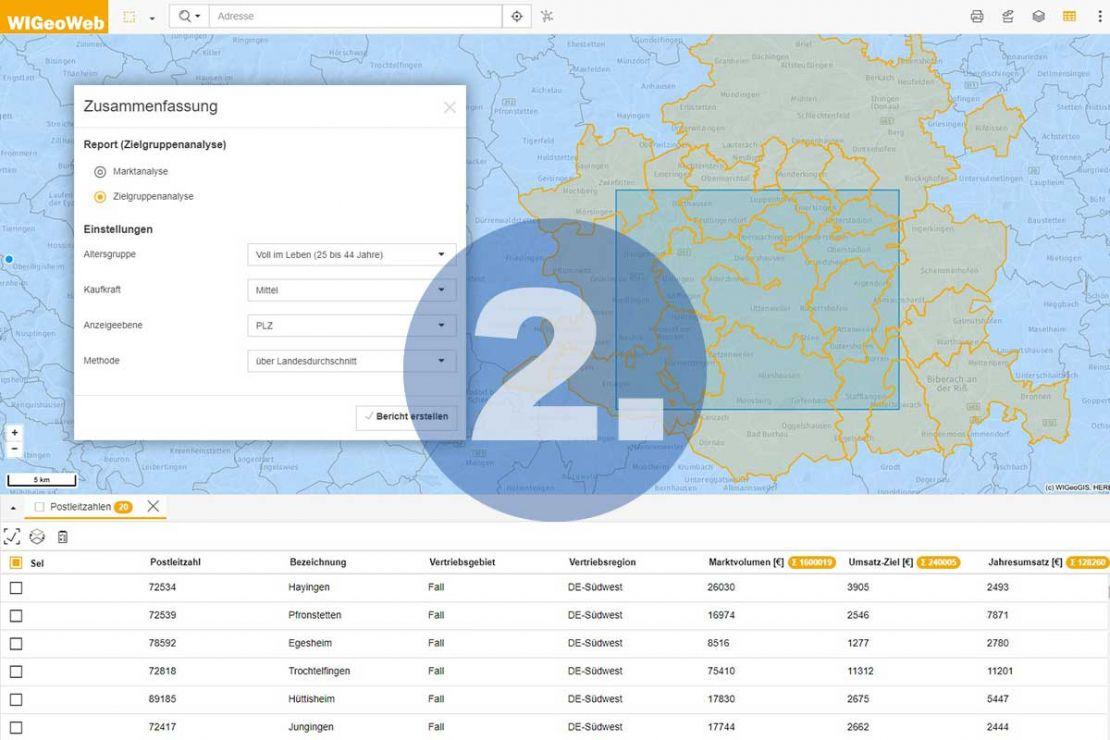 WebGIS Software - Schritt 2 zum Bericht - Analyse festlegen